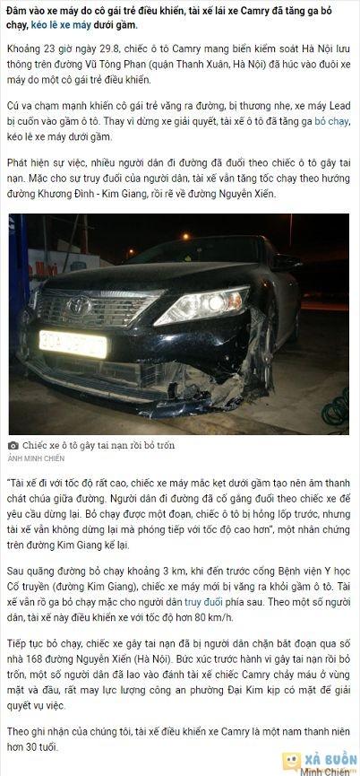 :x :x  ô tô điên tối qua: tài xế gây tai nạn bỏ chạy, kéo theo xe máy dưới gầm suốt 3 km  :x